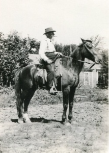 Bellport on horseback, probably using the museum's saddle. Photo courtesy of Thomas E. Richardson