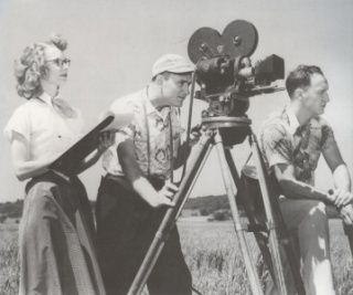 "Centron staff filming with the camera include Bob Rose (center) and Herk Harvey (right), who directed the independent horror film, ""Carnival of Souls."" Photo courtesy of the Spencer Research Library, KU."
