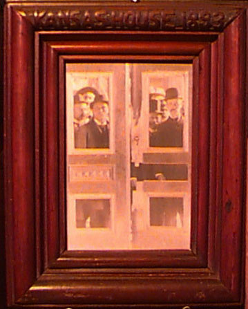 "Photograph of Republicans looking through the smashed doors of the Kansas House of Representatives during the ""Legislative War of 1893"""
