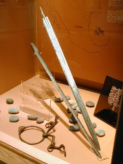 Spanish sword (top blade) displayed in the  museum's main gallery