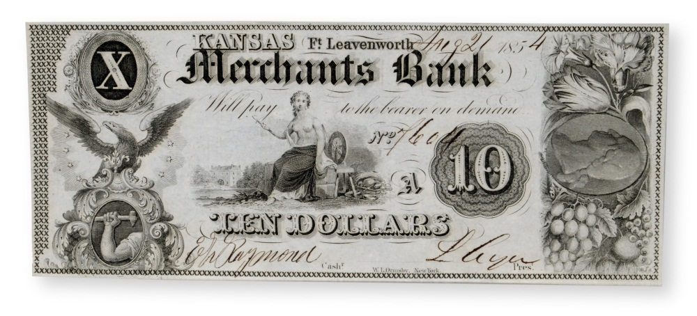 Ten dollar note issued for a nonexistent bank.