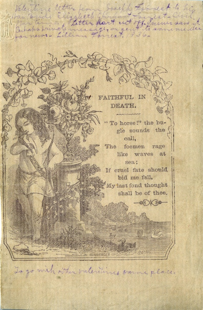 Civil War Valentine, 'Faithful in Death'