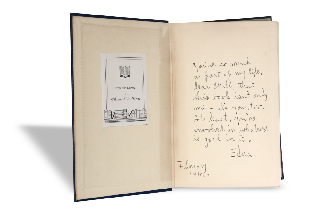 Inscription on front flyleaf of A Peculiar Treasure by Edna Ferber