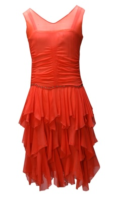 Orange chiffon party dress worn by Stella Miller