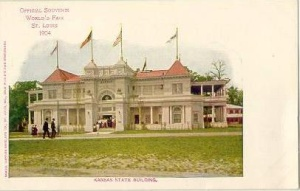 Souvenir postcard of Kansas building, 1904