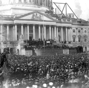Lincoln's inaugural on the steps of the U.S. Capitol, 1861; photo courtesy Library of Congress