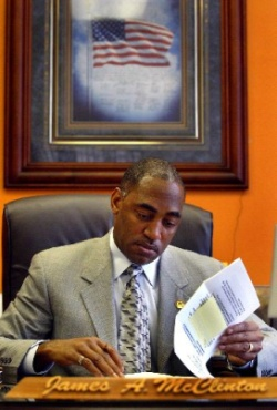 Mayor James McClinton in his office. Photo by Chris Landsberger, Topeka Capital-Journal