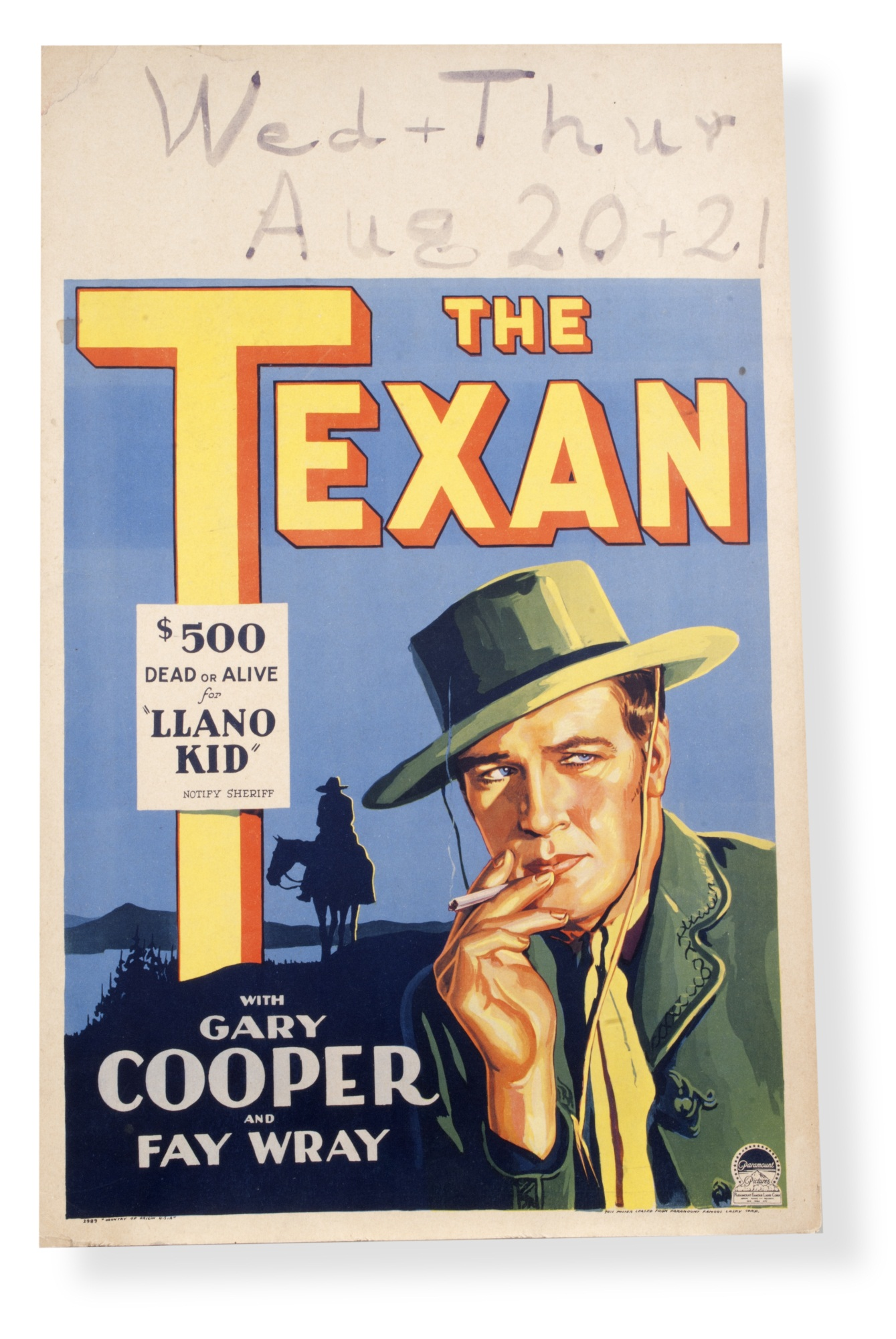 Movie poster for The Texan (1930)