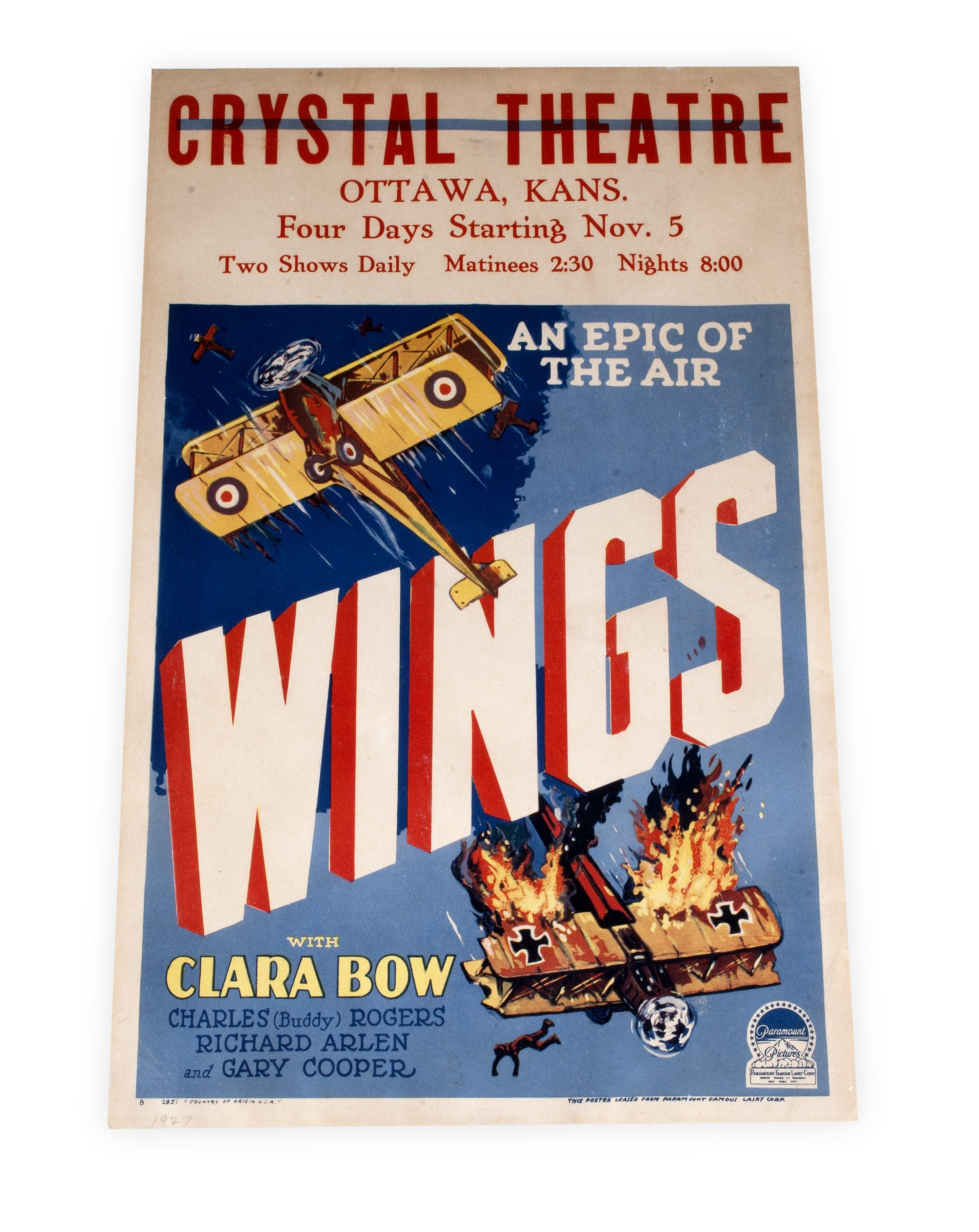 Movie poster for Wings (1927)