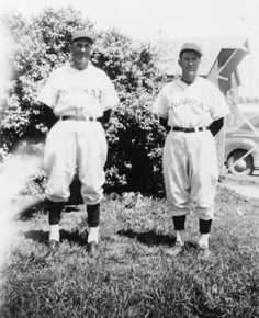 Evan Kvasnicka (at right) and Glenn Pelesky in their Narka uniforms about 1945
