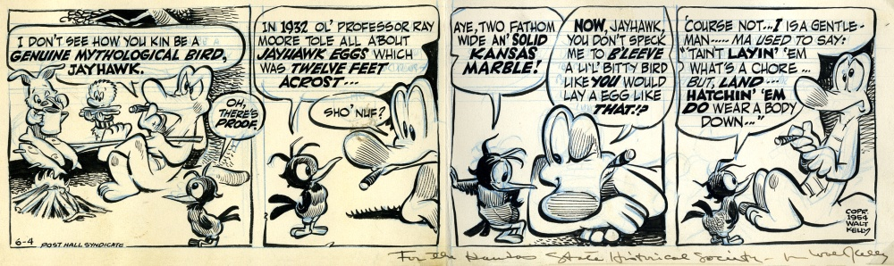 Pogo comic strip mentioning the mythical Jayhawk
