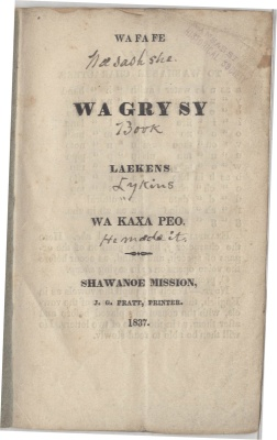 Shawnee language pamphlet printed by John Pratt, 1837