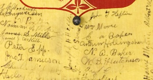 Signatures of Kansas soldiers on flag