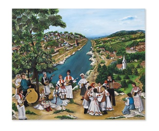 "Image of ""Musical Heritage of Strawberry Hill"" by Marijana Grisnik. ""On the right side of the painting is Croatia. The dancers show that the dance and the music came from the villages with the people when they came to America and settled to the left of the painting, which is Strawberry Hill."""