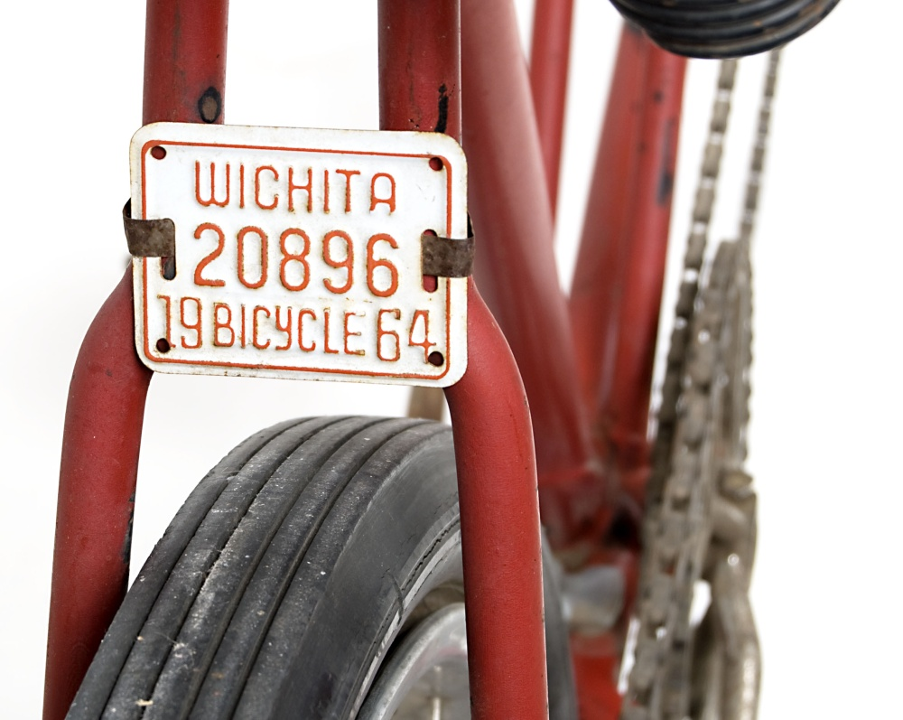 Wichita license tag on tandem bicycle