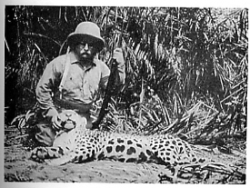 Roosevelt with jaguar on the Amazon expedition