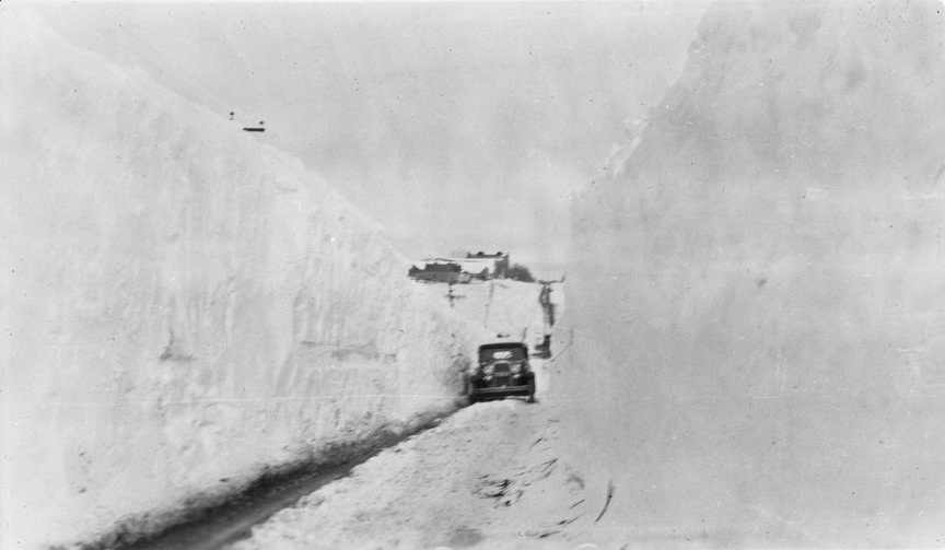 Plowed road after 1931 blizzard, western Kansas