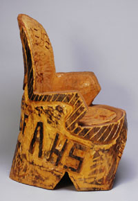 Chainsaw chair, side view