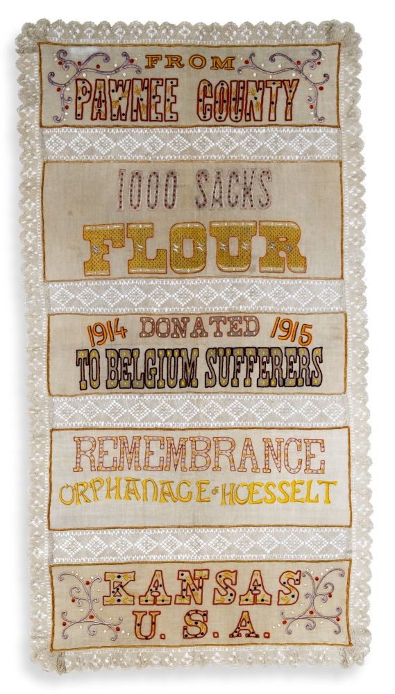 Pawnee County flour sack embroidered by Belgian women during World War I.