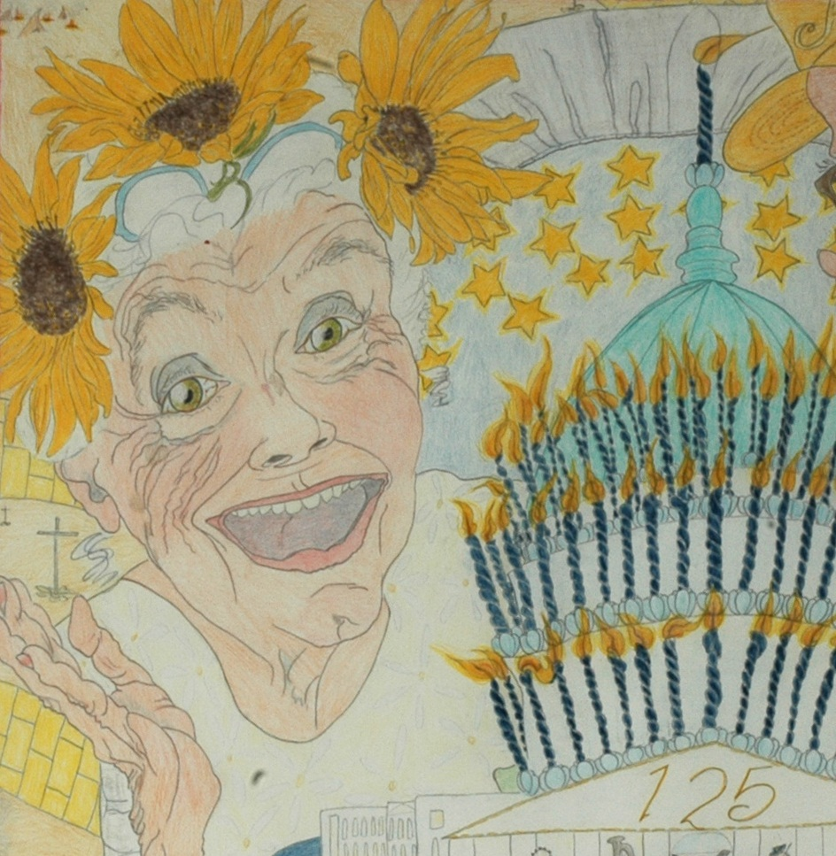 Close-up of Layton's drawing, including a self-portrait.