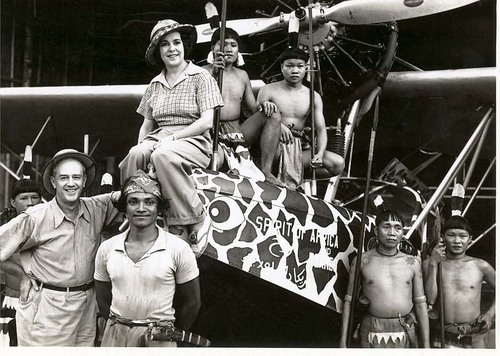 Martin & Osa Johnson with native people in Borneo