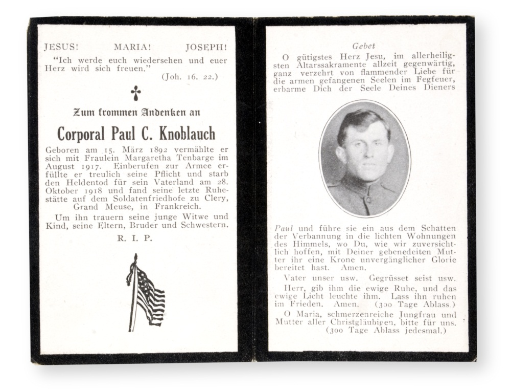 World War I memorial card, front.