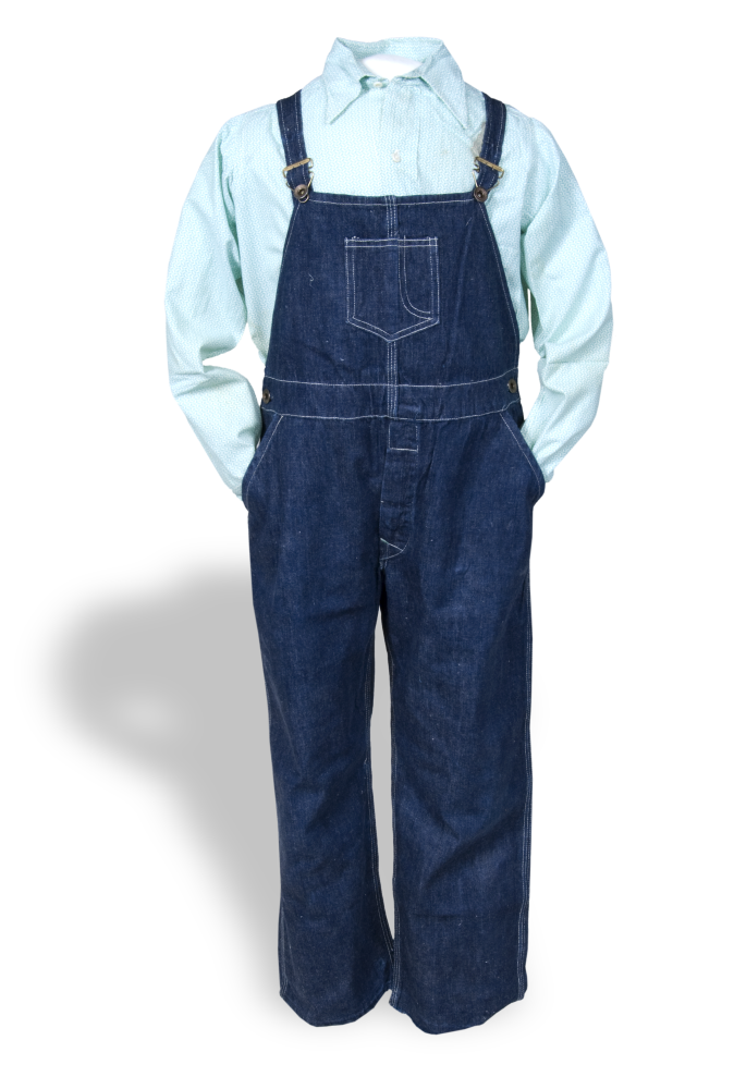 Overalls and shirt worn by Dean Thomas, early 1930s