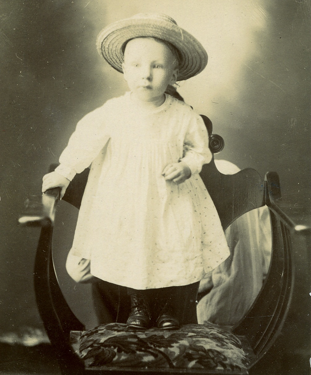 August Voigt as a toddler, shortly after his grandmother wrapped him in her shawl for the trip to Indian Territory.