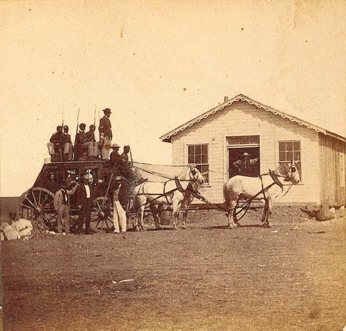 A different stagecoach operating in western Kansas, 1860s