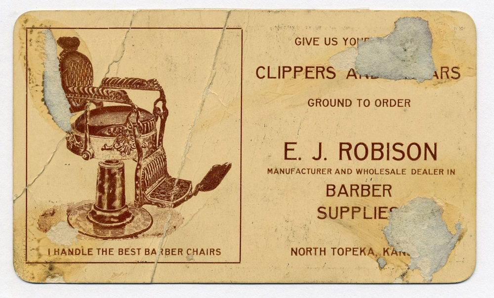 early robison business card bragging that he carries the best chairs