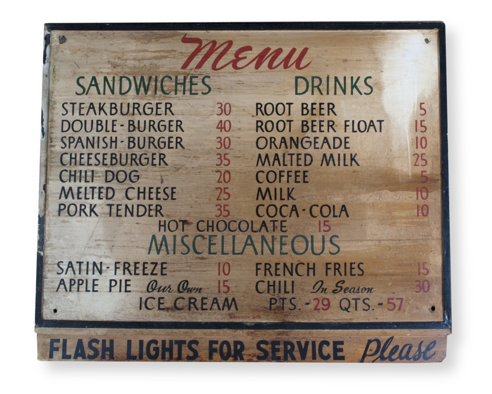 Bobo's menu board from 1953