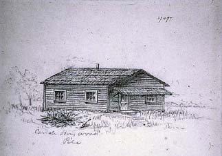 Sketch of Calhoun cabin and woodpile