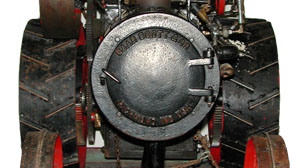 Close-up of steam engine name plate