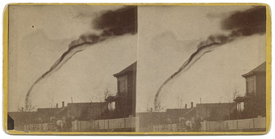 Stereograph of first tornado photograph, Anderson County, 1884