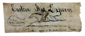 Proslavery men set Pardee Butler adrift on the Missouri River, expecting him to drown.  This banner flew on the raft.