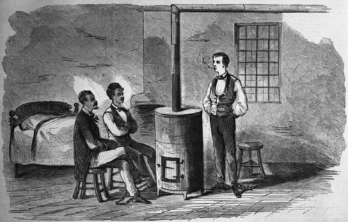 Hazlett, standing, with fellow conspirators in a jail cell after Harpers Ferry
