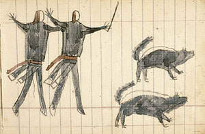 Ledger art depicting warriors with skunks
