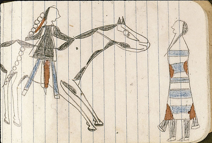 Native American Horse Drawing From indian territory.