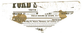 Ford's Theatre playbill fragment stained with Lincoln's blood