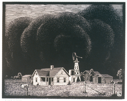 Dust Storm, was produced by Kansas artist Herschel Logan in 1938
