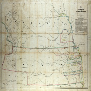 Map of Kansas and Nebraska territories, 1854