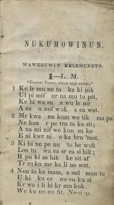Page one from Meeker's hymnal in Ottawat language
