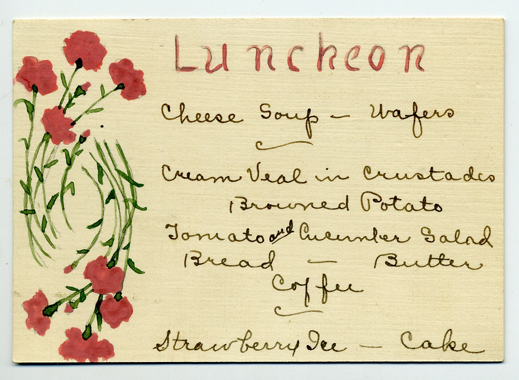 Hand painted luncheon menu