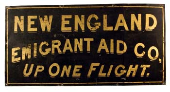 New England Emigrant Aid Society sign.