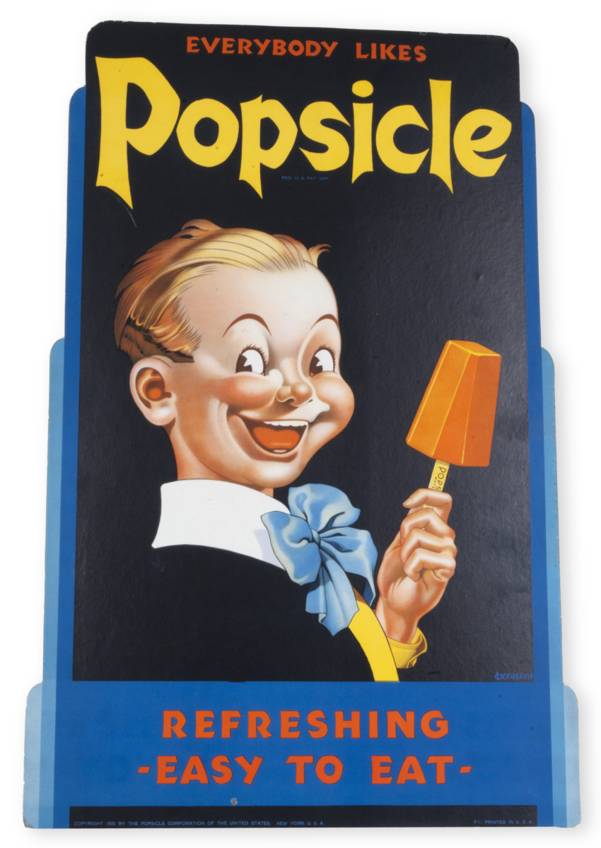 1930s sign featuring Popsicle Pete