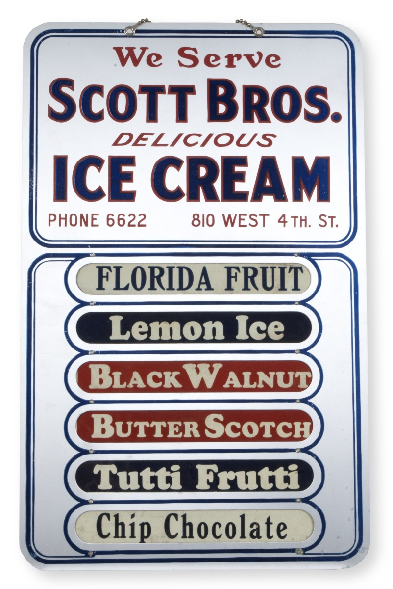 Scott Brothers sign listing ice cream flavors