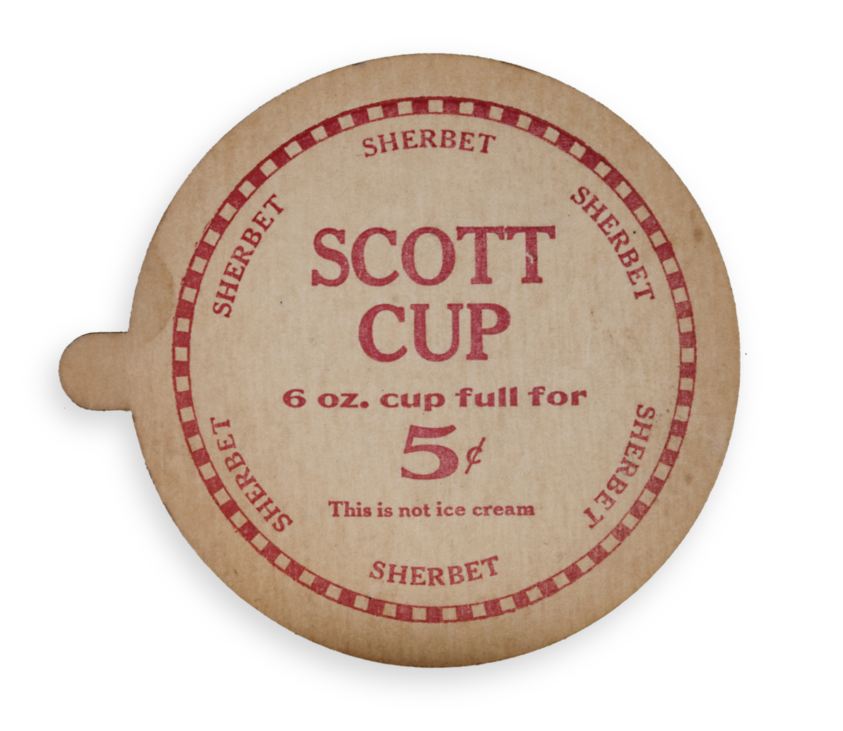 Cardboard cap for Scott Brothers sherbet