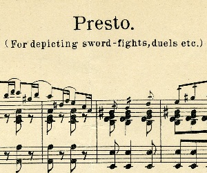 Sheet music for movie sword fights and duels.