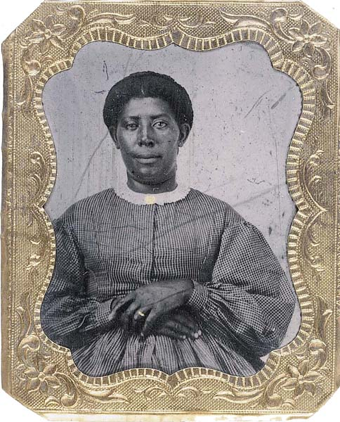 Tintype of African American woman, ca. 1860.