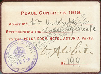 White's press pass for Paris Peace Conference